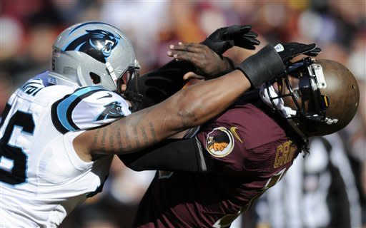 Carolina Panthers defensive end Greg Hardy, left, hits Washington Redskins quarterback Robert Griffin III and is charged with a roughing the passer penalty during the first half of an NFL football game, Sunday, Nov. 4, 2012, in Landover, Md. (AP Photo/Nick Wass)