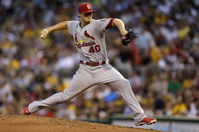 St. Louis Cardinals starting pitcher Shelby Miller (40) delivers during the second inning of a baseball game against the Pittsburgh Pirates in Pittsburgh Friday, Aug. 30, 2013. (AP Photo/Gene J. Puskar)