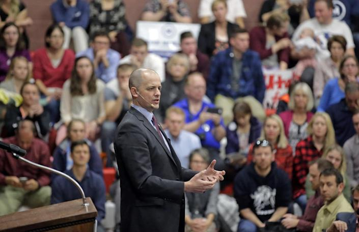 Evan McMullin at a rally in Draper, Utah, Oct. 16, 2016. (Photo: Rick Bowmer/AP)