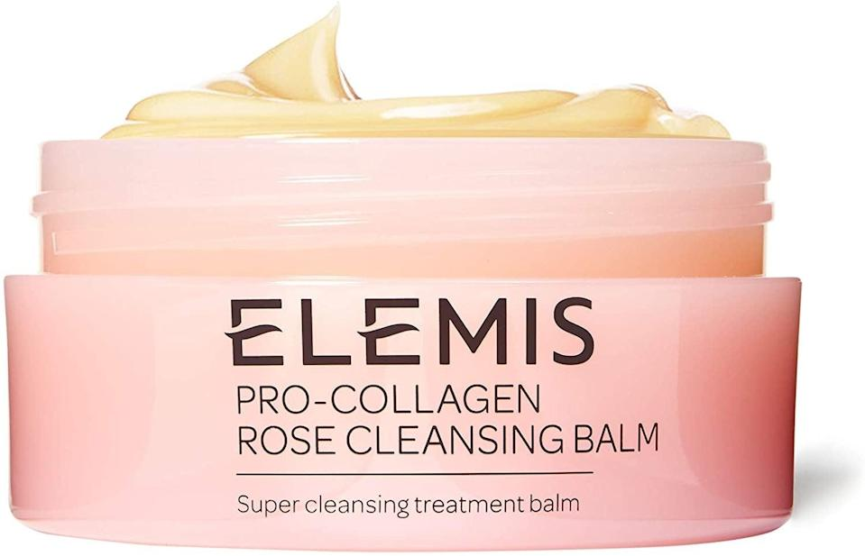 """<h2>Elemis</h2><br>Up to 35% off Elemis skincare<br><br><a href=""""https://www.amazon.co.uk/stores/node/10638199031?ref_=dp_csx_lgbl_n_luxury-beauty"""" rel=""""nofollow noopener"""" target=""""_blank"""" data-ylk=""""slk:"""" class=""""link rapid-noclick-resp""""><br></a><strong><em><a href=""""https://www.amazon.co.uk/stores/node/10638199031?ref_=dp_csx_lgbl_n_luxury-beauty"""" rel=""""nofollow noopener"""" target=""""_blank"""" data-ylk=""""slk:Shop Elemis"""" class=""""link rapid-noclick-resp"""">Shop Elemis</a></em></strong><br><br><strong>Elemis</strong> Pro-Collagen Rose Cleansing Balm, $, available at <a href=""""https://www.amazon.co.uk/Elemis-Pro-Collagen-Rose-Cleansing-Balm/dp/B07KZYFR4F?ref_=Oct_DLandingS_D_0a7c34ce_80&smid=A3P5ROKL5A1OLE"""" rel=""""nofollow noopener"""" target=""""_blank"""" data-ylk=""""slk:Amazon"""" class=""""link rapid-noclick-resp"""">Amazon</a>"""