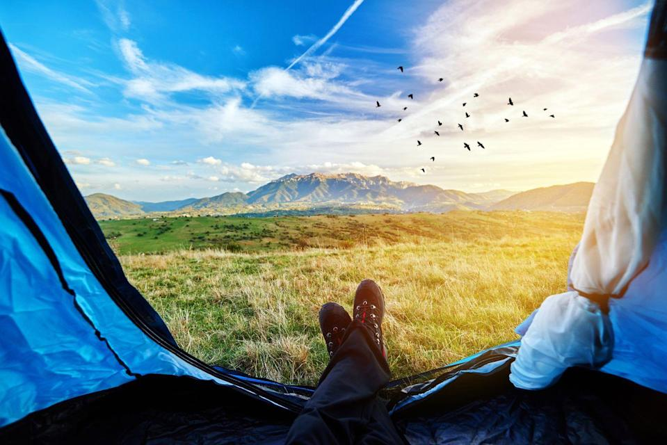 """<p>Whether you head to a campsite for the weekend or decide to set up a tent in your own backyard, dad will love roasting marshmallows and telling scary stories around the fire.<br></p><p><a class=""""link rapid-noclick-resp"""" href=""""https://www.goodhousekeeping.com/life/parenting/g27287900/best-camping-games-activities/"""" rel=""""nofollow noopener"""" target=""""_blank"""" data-ylk=""""slk:FIND TONS OF FUN CAMPING ACTIVITIES"""">FIND TONS OF FUN CAMPING ACTIVITIES</a></p>"""