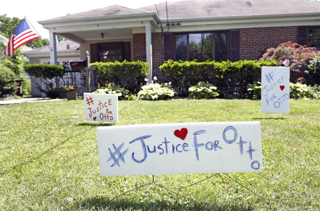 "<p>Signs on the front lawn of Lauren Wadds Wyoming, Ohio home proclaim, ""#Justice For Otto"" as the town of Wyoming prepares for the funeral of Otto Warmbier June 21, 2017 in Wyoming, Ohio. (Photo: Bill Pugliano/Getty Images) </p>"