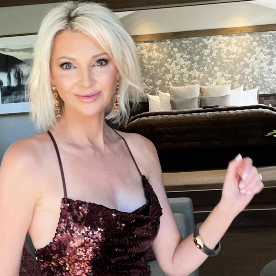 Sheena Cole poses in sequinned dress