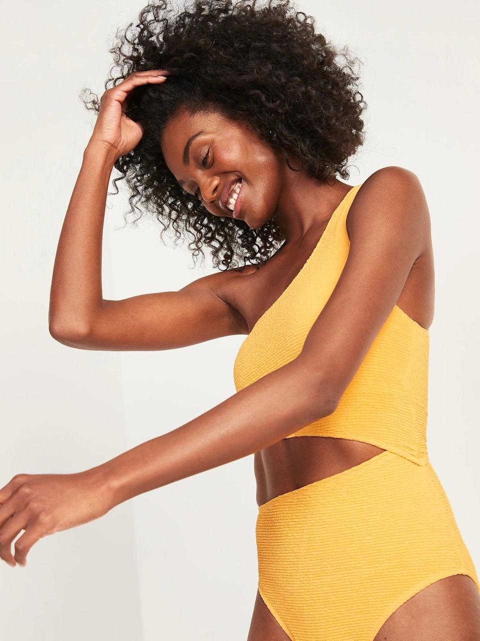 <p>We love the look of this sunny <span>Old Navy Textured One-Shoulder Side-Cutout One-Piece Swimsuit</span> ($50).</p>