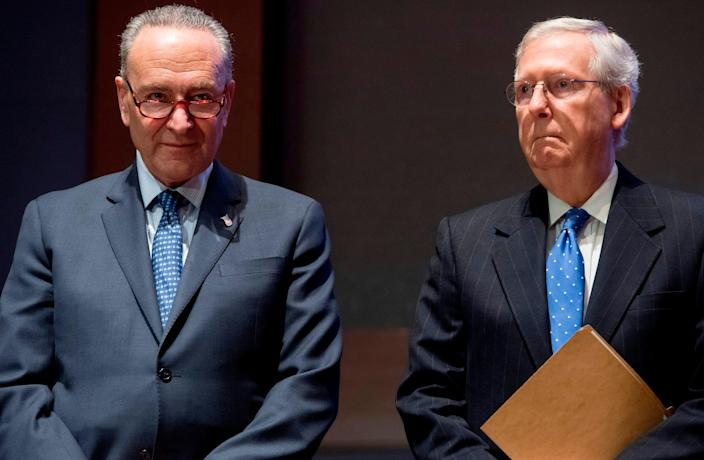 From left, then-Senate Minority Leader Chuck Schumer and then-Senate Majority Leader Mitch McConnell in 2017.