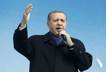 Turkish President Erdogan addresses his supporters during a rally for the upcoming referendum in Konya