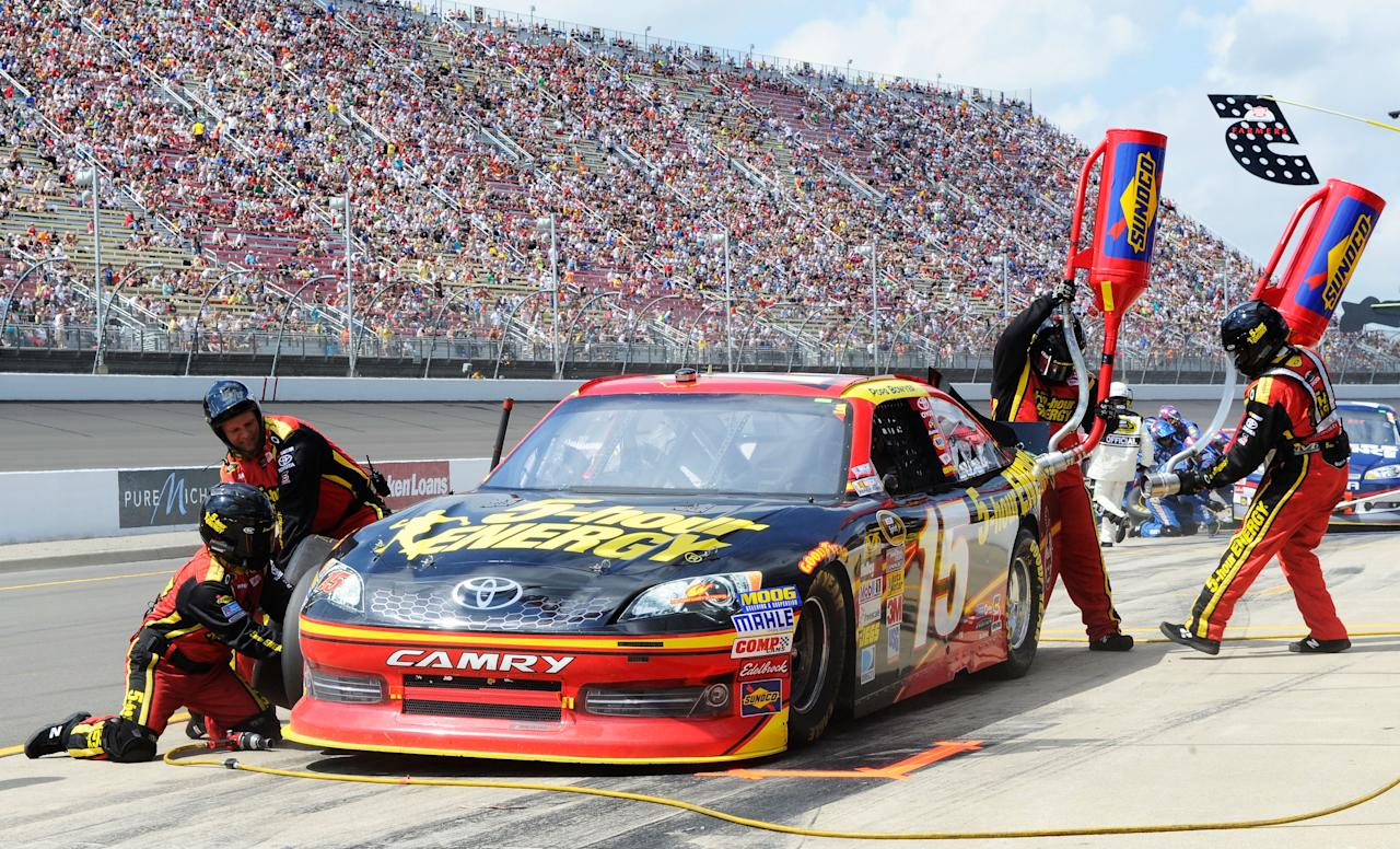 BROOKLYN, MI - JUNE 17:  Clint Bowyer, driver of the #15 5-hour Energy Toyota, pits during the NASCAR Sprint Cup Series Quicken Loans 400 at Michigan International Speedway on June 17, 2012 in Brooklyn, Michigan.  (Photo by John Harrelson/Getty Images for NASCAR)