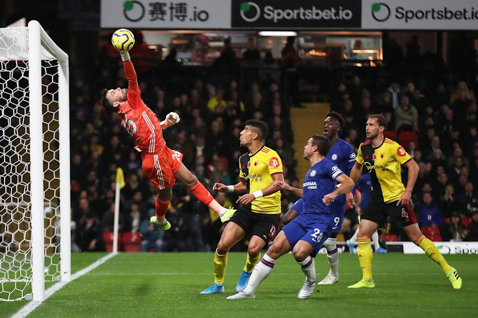 WATFORD, ENGLAND - NOVEMBER 02: Ben Foster of Watford dives to make a save during the Premier League match between Watford FC and Chelsea FC at Vicarage Road on November 02, 2019 in Watford, United Kingdom. (Photo by Christopher Lee/Getty Images)