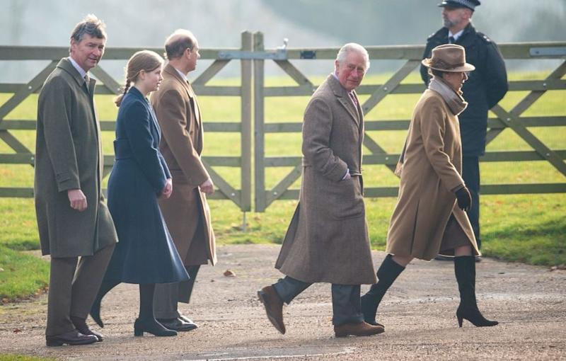 Princess Anne, Prince Charles and Prince Edward arrive with Lady Louise Windsor and Vice Admiral Sir Timothy Laurence | Joe Giddens/PA Images via Getty Images
