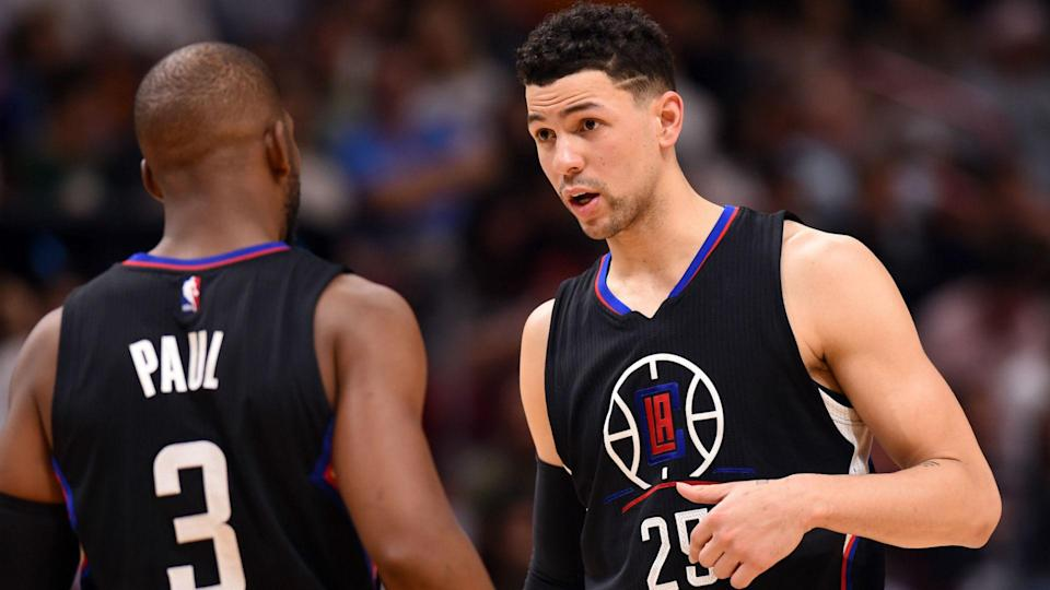 Austin Rivers became a first-time dad after welcoming son Kayden with fiancee Brittany Hotard. (AP)