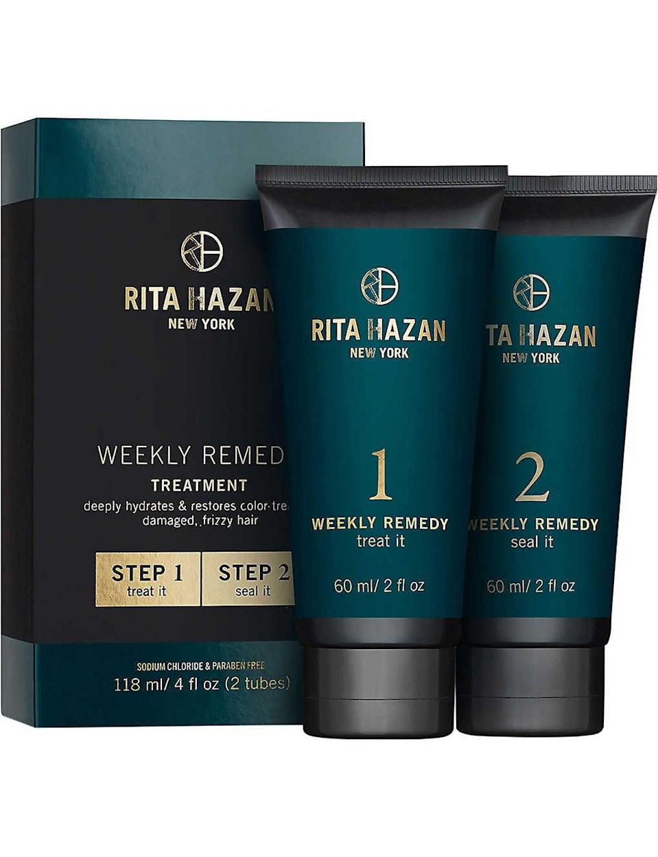 <p>The <span>Rita Hazan Weekly Remedy Treatment</span> ($42) is an impressive masking treatment for color-treated hair. The quick, two-step treatment can be used in the shower and rinsed off immediately, which means no hanging around for it to soak in. It's definitely one of the most expensive masks on the market, but I can confirm the promise of immediate results (think: less frizz, smoother strands, brighter color in one wash) is true. I was also surprised how long these small tubes lasted - a little goes a long way.</p>
