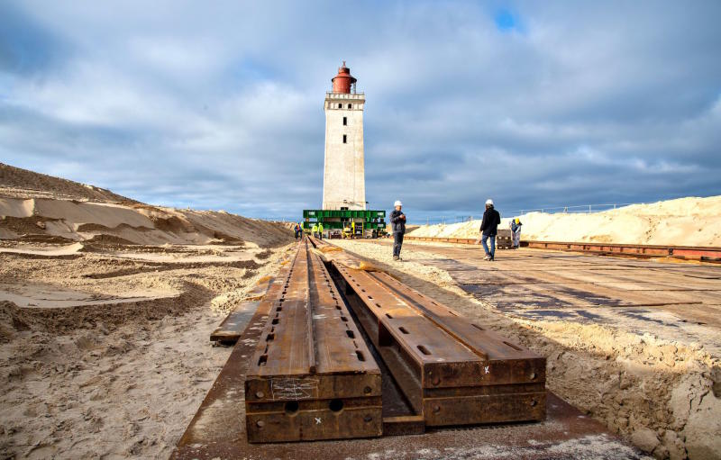 The Rubjerg Knude lighthouse was being placed on a large rail to move it away from the coast (Picture: AFP/Getty)