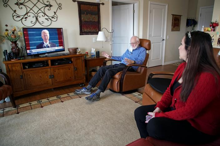 <p>A Democrat and a Republican watch Biden's inauguration together</p> (Copyright 2021 The Associated Press. All rights reserved.)