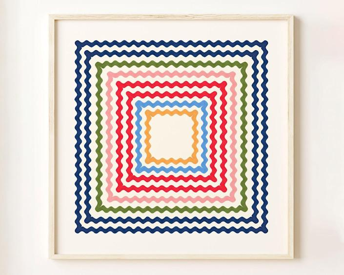 <p>For a personality-filled piece, get this <span>Sarah Goodwin Design Ric Rac Rainbow Wall Art Print</span> ($86). Art should reflect your love of design, and if you can relate to these colorful and funky lines, then this one's for you.</p>