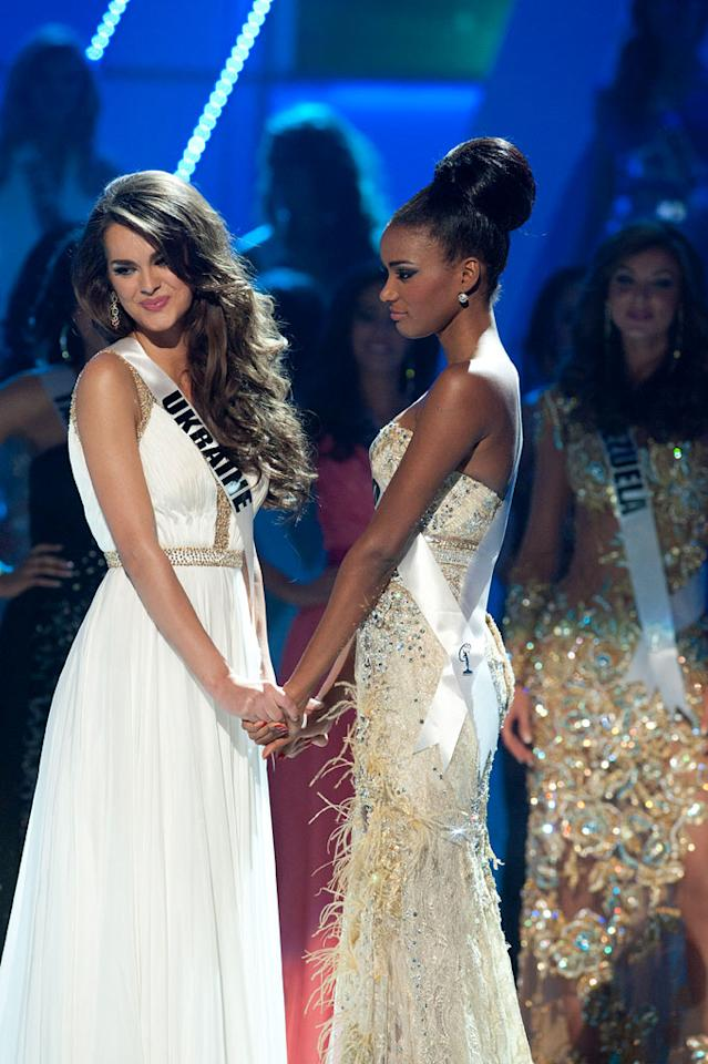 """The top two finalists Miss Ukraine 2011, Olesia Stefanko; and Miss Angola 2011, Leila Lopes anxiously await the announcement of who will be crowned 2011 Miss Universe® during the """"60th Annual Miss Universe"""" pageant from São Paulo, Brazil."""