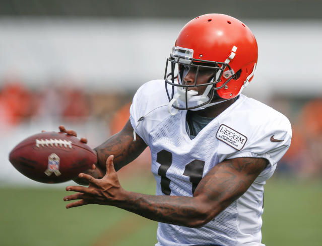 FILE - In this Aug. 12, 2018, file photo, Cleveland Browns wide receiver Antonio Callaway catches a pass during NFL football training camp in Berea, Ohio. Browns coach Freddie Kitchens said benching Callaway is a one-game punishment. Callaway did not play in Sundays 19-16 win over the Buffalo Bills. He was a surprising addition to the inactives list after being included in the game plan. Kitchens has not divulged his reason for sitting Callaway, who was suspended four games earlier this season by the NFL for violating the leagues drug policy. (AP Photo/Ron Schwane, File)
