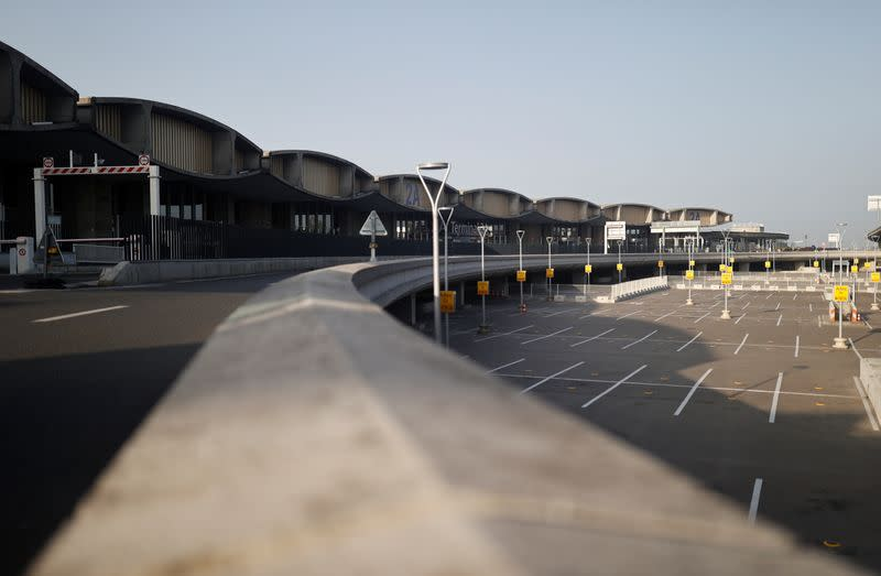 The empty parking of the closed Terminal 2A is seen at Charles-de-Gaulle airport in Roissy