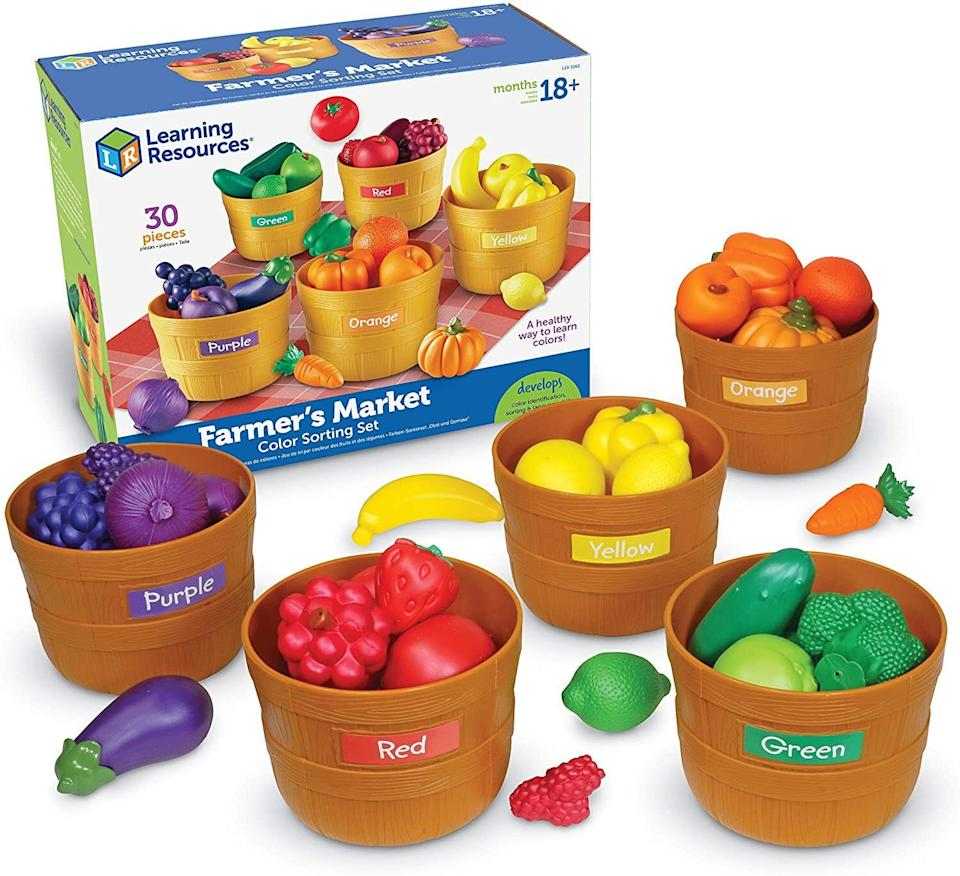 """They canexpand their vocabulary, especially when it comes to produce. And no, the fruits and veggies aren't organic, but kids can certainly pretend that they are.<br /><br /><strong>Promising review:</strong>""""We received this as a gift for my 1-year-old daughter. She is now almost 3 and still plays with it. We have gifted this to multiple children as it has been such a hit in our family. My daughter started by being able to identify the different fruits and vegetables and then she started learning the colors. It's a fun educational toy that can be used in so many different ways."""" --<a href=""""https://www.amazon.com/dp/B006RQ8TY0?tag=huffpost-bfsyndication-20&ascsubtag=5709944%2C21%2C32%2Cd%2C0%2C0%2C0%2C962%3A1%3B901%3A2%3B900%3A2%3B974%3A3%3B975%3A2%3B982%3A2%2C13752206%2C0"""" target=""""_blank"""" rel=""""noopener noreferrer"""">DL692</a><br /><br /><strong>Get it from Amazon for <a href=""""https://www.amazon.com/dp/B006RQ8TY0?tag=huffpost-bfsyndication-20&ascsubtag=5709944%2C21%2C32%2Cd%2C0%2C0%2C0%2C962%3A1%3B901%3A2%3B900%3A2%3B974%3A3%3B975%3A2%3B982%3A2%2C13752206%2C0"""" target=""""_blank"""" rel=""""noopener noreferrer"""">$22.49</a>.</strong>"""
