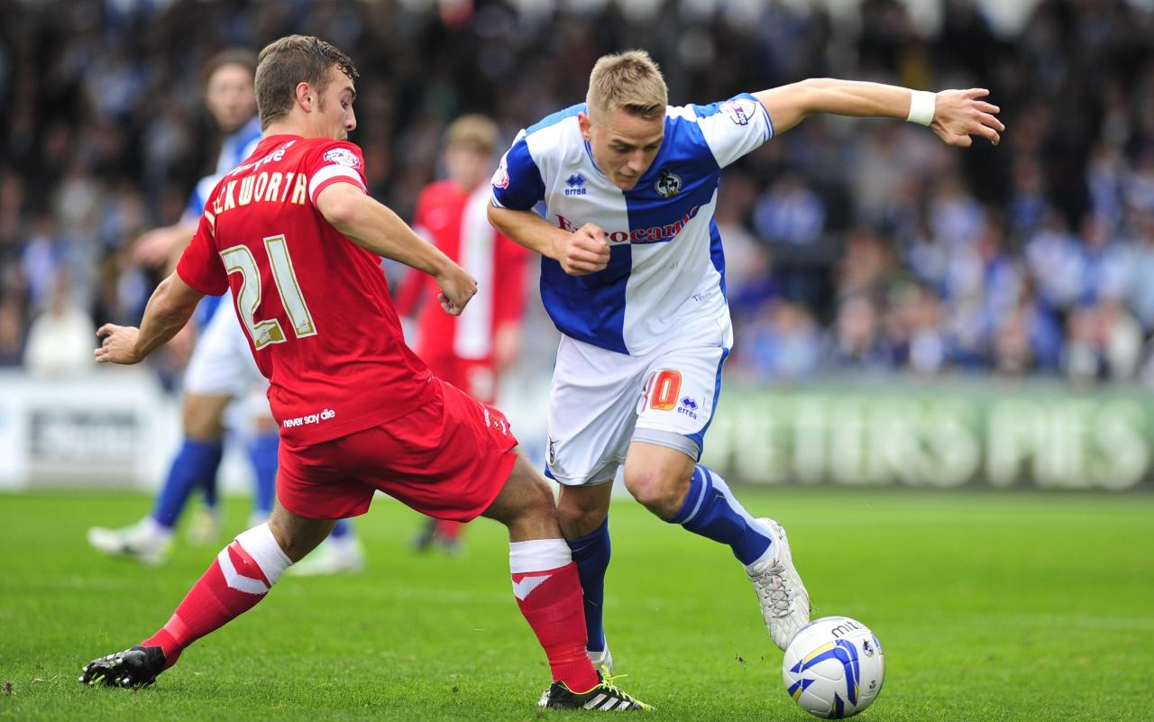 Bristol Rovers Eliot Richards (right) and Hartlepool United's Michael Duckworth in action during the Sky Bet League Two match at the Memorial Stadium, Bristol.