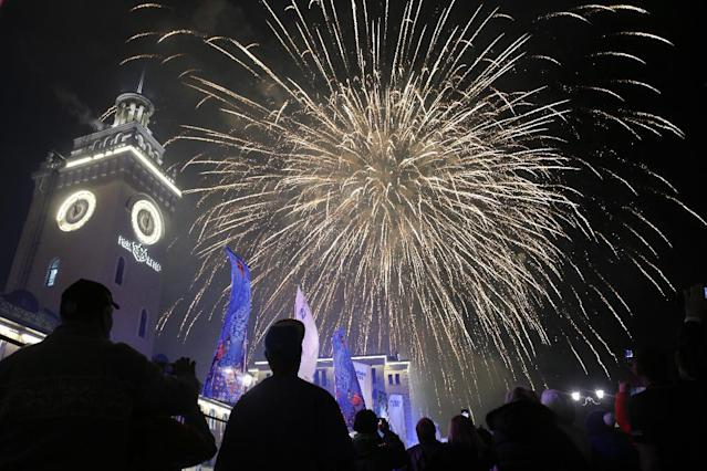 Fireworks explode after the live broadcast of the opening ceremony of the 2014 Winter Olympics, Friday, Feb. 7, 2014, in Krasnaya Polyana, Russia. (AP Photo/Jae C. Hong)