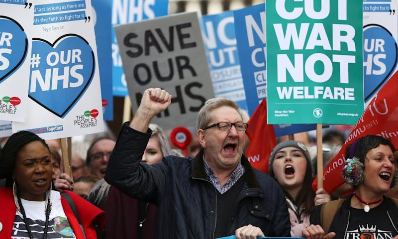Unite leader Len McCluskey takes part in a demonstration to demand more funding for the NHS