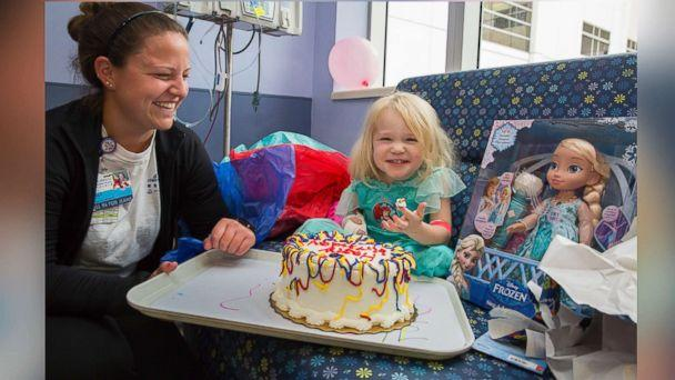 PHOTO: Willow Stine was diagnosed with leukemia on Sept. 8, 2017, just two days before her third birthday. Staff at John Hopkins All Children's Hospital in St. Petersburg, Fla., threw a birthday party for her on Sunday as Hurricane Irma hit the state. (Johns Hopkins All Children's Hospital)