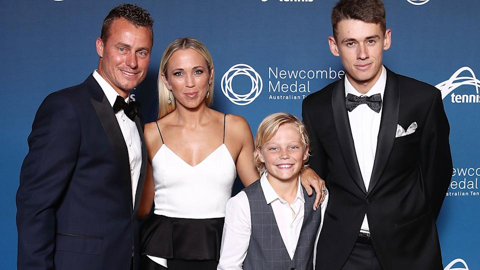Lleyton Hewitt, picctured here with wife Bec, son Cruz and Alex de Minaur at the 2018 Newcombe Medal.