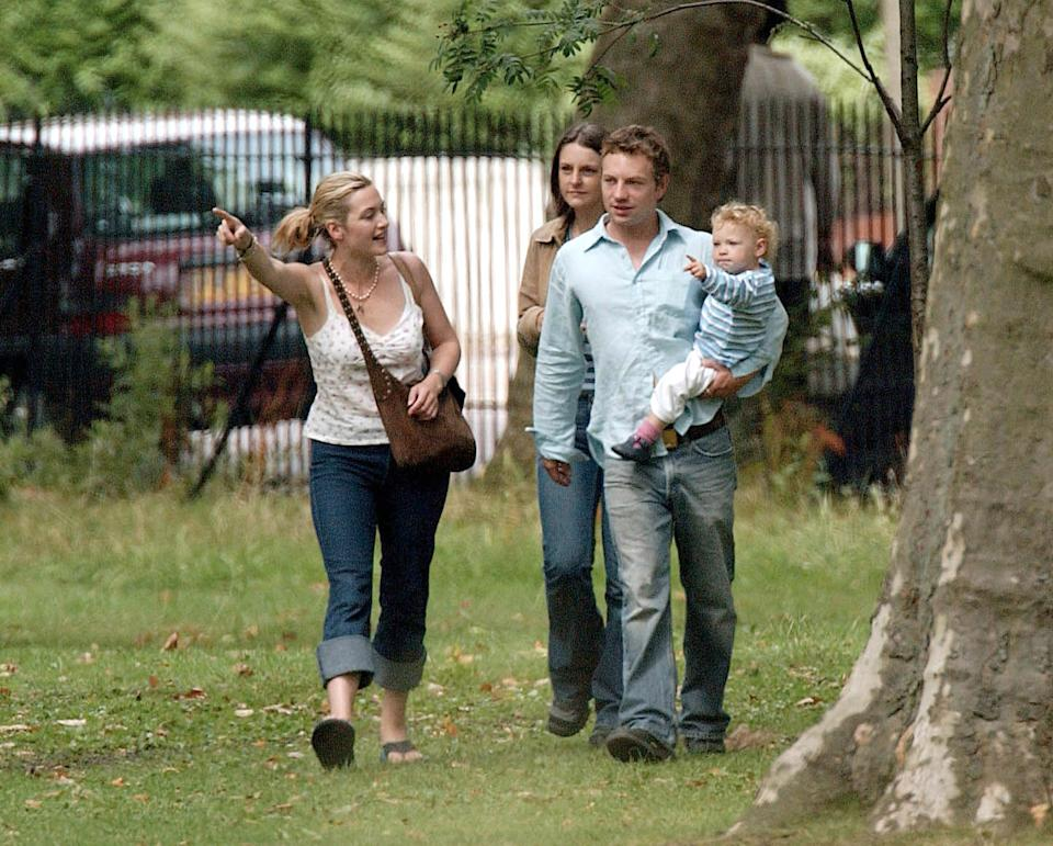 Kate Winslet & Ex-Husband Jim Threapleton Spend Some Time In A North London Park With Their 22-Month-Old Daughter Mia. (Photo by Antony Jones/UK Press via Getty Images)