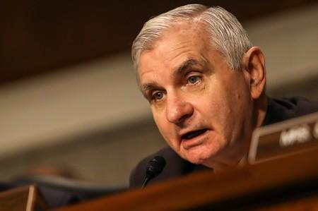 Senator Jack Reed speaks at a Senate Armed Services hearing on the proposal to establish a U.S. Space Force, in Washington