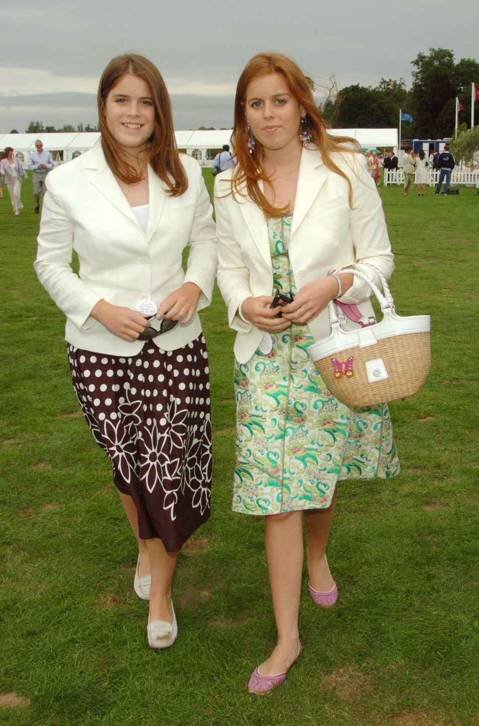 <p>Eugenie and Beatrice looking lovely in floral prints at the Cartier International Coronation Cup. </p>
