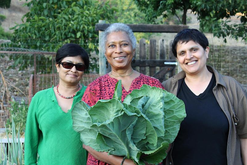 "This photo released by PBS shows Alice Walker, center, with director Pratibha Parmar, left, and producer Shaheen Haq of American Masters ""Alice Walker: Beauty in Truth,"" in Northern California. PBS will commemorate Black History Month with programs including a profile of ""The Color Purple"" author Walker. The public television service announced Tuesday, Jan. 21, 2014, that the Walker profile will air Feb. 7, 2014, as part of the ""American Masters"" series. (AP Photo/PBS, Trish Govoni)"