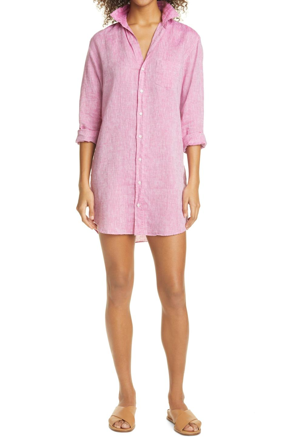 """<p><strong>FRANK AND EILEEN</strong></p><p>nordstrom.com</p><p><strong>$278.00</strong></p><p><a href=""""https://go.redirectingat.com?id=74968X1596630&url=https%3A%2F%2Fwww.nordstrom.com%2Fs%2Ffrank-eileen-mary-long-sleeve-linen-shirtdress%2F5803648&sref=https%3A%2F%2Fwww.townandcountrymag.com%2Fstyle%2Fg36049039%2Fbest-linen-dresses-women%2F"""" rel=""""nofollow noopener"""" target=""""_blank"""" data-ylk=""""slk:Shop Now"""" class=""""link rapid-noclick-resp"""">Shop Now</a></p><p>This shirtdress is the chicest cover-up we've seen. Plus the long sleeves protect from the sun while keeping you cool. </p>"""