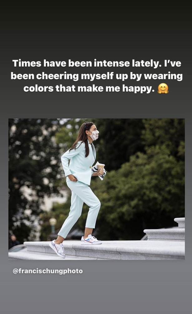 Alexandria Ocasio-Cortez has been wearing colors that make her happy. (Photo: Instagram)