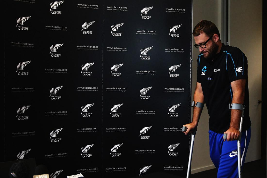 AUCKLAND, NEW ZEALAND - JULY 05:  Daniel Vettori speaks to the media during a press conference at the New Zealand Cricket Offices on July 5, 2013 in Auckland, New Zealand. Vettori has announced today that he has made himself unavailable for a New Zealand Cricket retainer contract for 2013/14 due to his recovery from surgery.  (Photo by Hannah Johnston/Getty Images)