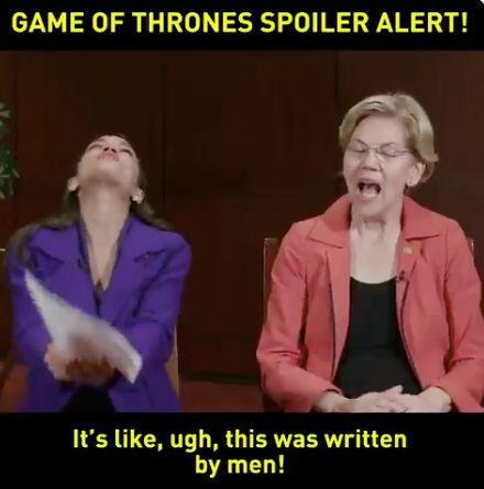 "Rep. Alexandria Ocasio-Cortez, D-NY, and Sen. Elizabeth Warren, D-Mass., discuss the end of ""Game of Thrones."" (Image via Twitter)"
