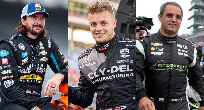 J.R. Hildebrand (from left), Santino Ferrucci and Juan Pablo Montoya, Row 8 for the 2021 Indianapolis 500.