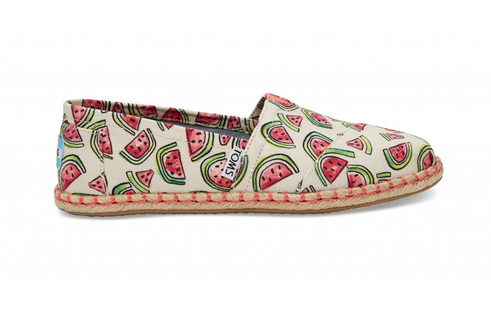 """<p>TOMS are the king of espadrilles so look no further than them for the perfect holiday shoe. Their latest release is full of fun prints including this watermelon pair which will put you <a rel=""""nofollow"""" href=""""https://uk.style.yahoo.com/people-going-crazy-watermelon-dress-trend-093231758.html"""" data-ylk=""""slk:bang on trend;outcm:mb_qualified_link;_E:mb_qualified_link;ct:story;"""" class=""""link rapid-noclick-resp yahoo-link"""">bang on trend</a>.<br><a rel=""""nofollow noopener"""" href=""""http://www.toms.co.uk/women/watermelon-print-womens-espadrilles"""" target=""""_blank"""" data-ylk=""""slk:TOMS, £41.99"""" class=""""link rapid-noclick-resp""""><i>TOMS, £41.99</i></a> </p>"""