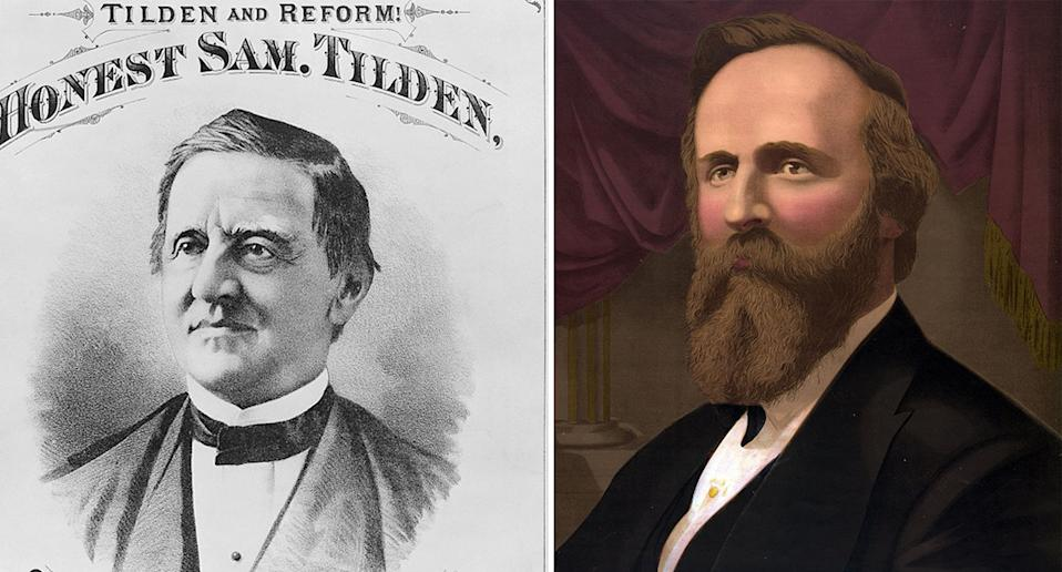 Democrat Samuel J Tilden (left) and Rutherford B Hayes (right) both pictured.