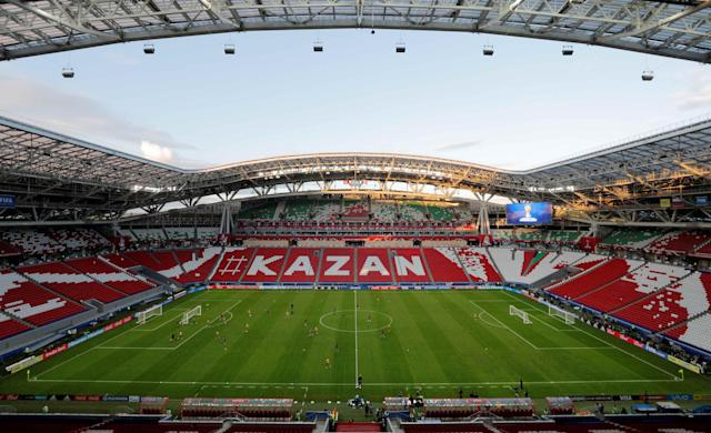 FILE PHOTO: Football Soccer - Mexico Training - FIFA Confederations Cup - Kazan Arena, Kazan, Russia - June 17, 2017 General view during training REUTERS/Maxim Shemetov/File Photo