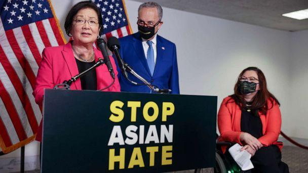 PHOTO: Sen. Mazie Hirono, D-Hawaii, speaks about the COVID-19 Hate Crimes Act at a news conference in Washington, on April 20, 2021. (Evelyn Hockstein/Reuters)