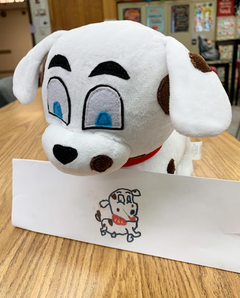 Even though toughest student becomes excited when they see their artwork as a stuffed animal. (Courtesy of Shannon Anderson)