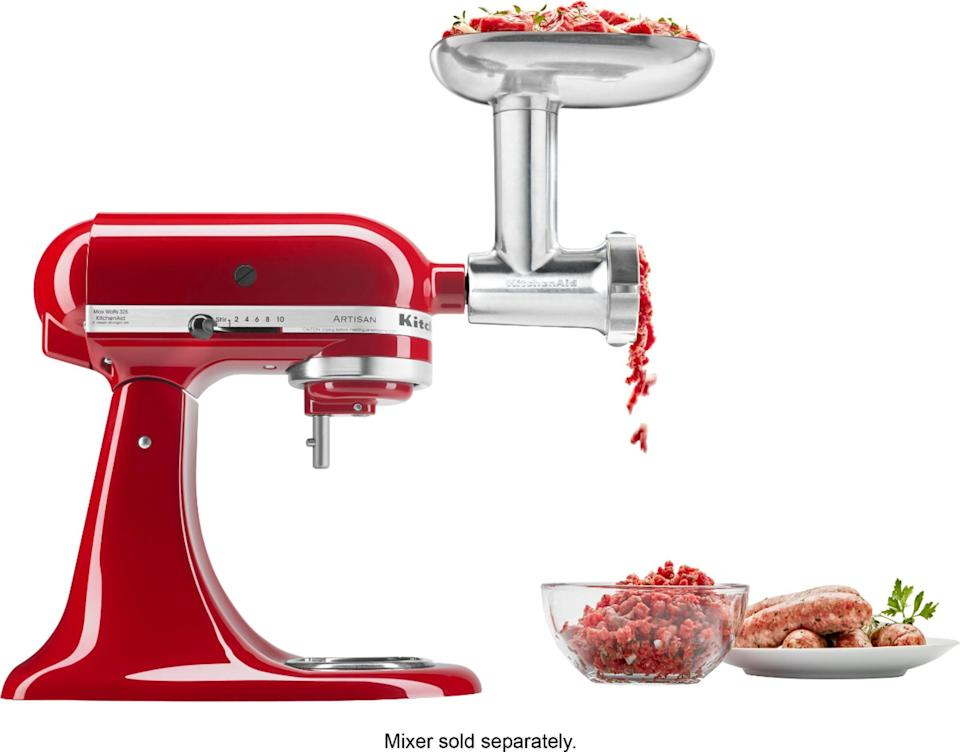 "<p><strong>KitchenAid</strong></p><p>bestbuy.com</p><p><strong>$99.99</strong></p><p><a href=""https://go.redirectingat.com?id=74968X1596630&url=https%3A%2F%2Fwww.bestbuy.com%2Fsite%2Fkitchenaid-food-grinder-attachment-silver%2F6300434.p%3FskuId%3D6300434&sref=https%3A%2F%2Fwww.goodhousekeeping.com%2Fcooking-tools%2Fg34431819%2Fbest-kitchenaid-attachments%2F"" rel=""nofollow noopener"" target=""_blank"" data-ylk=""slk:Shop Now"" class=""link rapid-noclick-resp"">Shop Now</a></p><p>If you're a burger lover <a href=""https://www.goodhousekeeping.com/appliances/outdoor-grill-reviews/g2320/best-outdoor-grills-0611/"" rel=""nofollow noopener"" target=""_blank"" data-ylk=""slk:or love to barbecue"" class=""link rapid-noclick-resp"">or love to barbecue</a>, this attachment is for you — it can handle all proteins, as its metal encasing stands up to the task. You can power through pounds of beef, pork, poultry, or even fish; you can also choose to create blends yourself. You'll get a removal tray with the attachment to set your meat into, plus a plastic sausage stuffer tube, a meat pusher for trickier grinds, and a cleaning brush. And if you haven't made sausage from scratch before, this attachment makes the whole process less intimidating. A plastic model is <a href=""https://go.redirectingat.com?id=74968X1596630&url=https%3A%2F%2Fwww.kitchenaid.com%2Fcountertop-appliances%2Fstand-mixers%2Fattachments%2Fp.food-grinder-attachment.ksmfga.html&sref=https%3A%2F%2Fwww.goodhousekeeping.com%2Fcooking-tools%2Fg34431819%2Fbest-kitchenaid-attachments%2F"" rel=""nofollow noopener"" target=""_blank"" data-ylk=""slk:available at a lower price point"" class=""link rapid-noclick-resp"">available at a lower price point</a>, as well.</p>"
