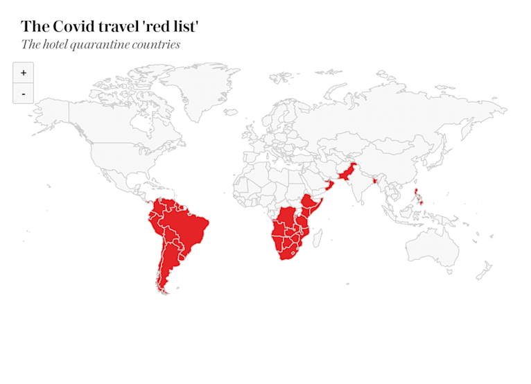 The 35 hotel quarantine 'red list' countries