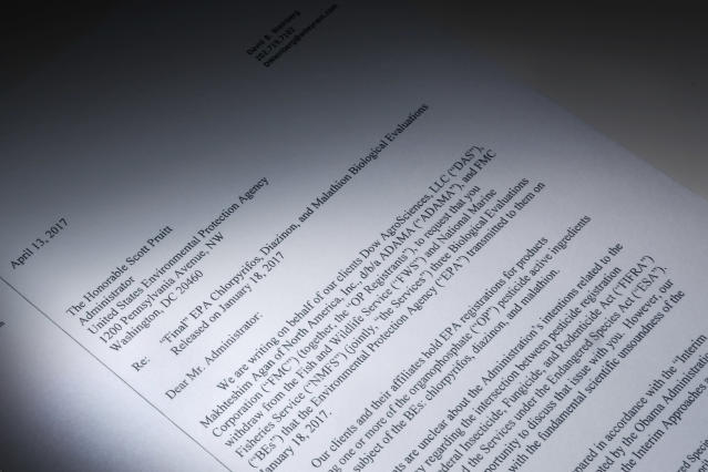 "This letter, obtained by the Associated Press and photographed in the news agency's Washington bureau in April  2017, was sent to EPA Administrator Scott Pruitt by attorneys representing Dow Chemical asking the EPA ""to set aside"" the results of government studies they said were fundamentally flawed. (Photo: AP)"