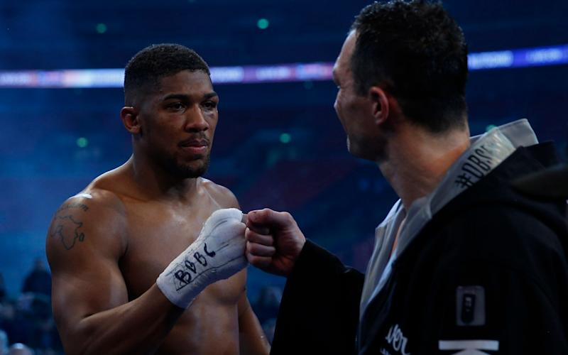 Britain Boxing - Anthony Joshua v Wladimir Klitschko IBF, IBO & WBA Super World Heavyweight Title's - Wembley Stadium, London, England - 29/4/17 Anthony Joshua with Wladimir Klitschko after the fight Action Images via Reuters / Andrew Couldridge Livepic - Credit: Andrew Couldridge/Reuters