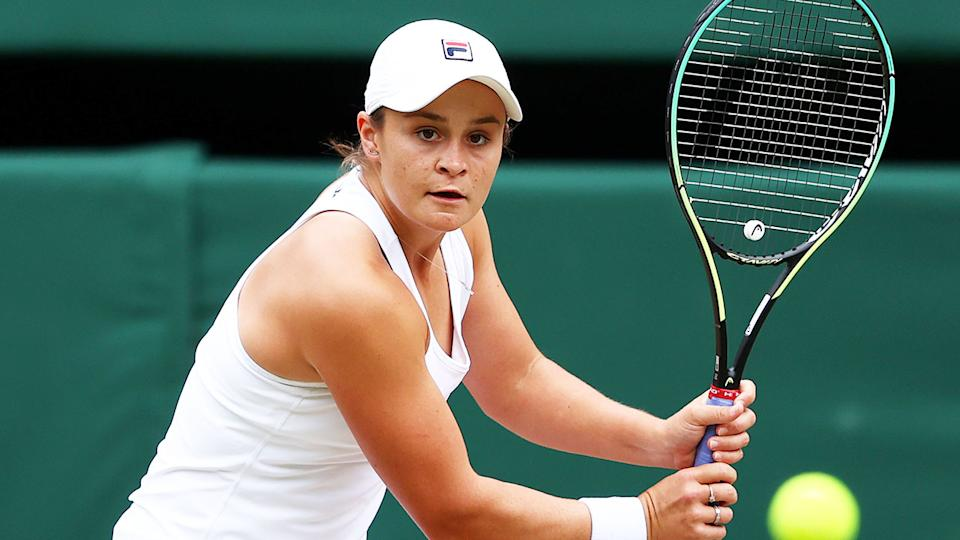 Ash Barty is pictured here in her Wimbledon 2021 semi-final match.
