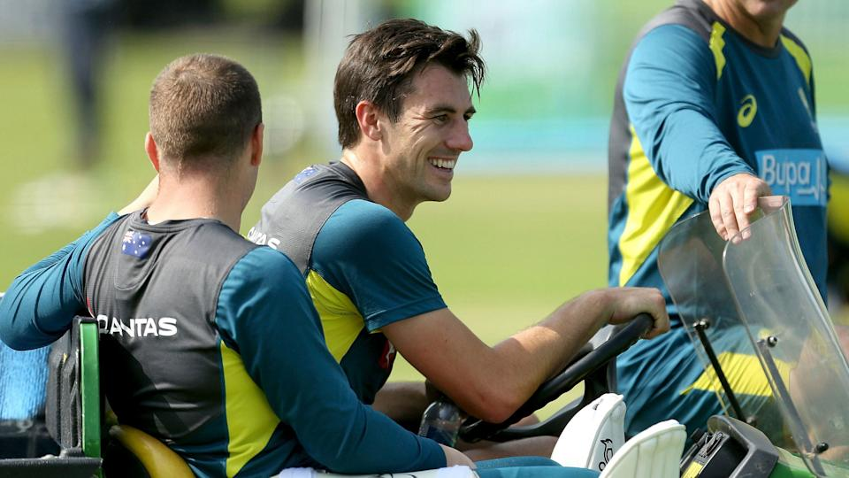 Australia's Pat Cummins reacts, during a nets session.