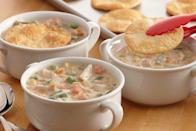 """<p>If not in the mood to bake an entire pot pie, mix all the dish's traditional ingredients in a medium saucepan and top with a crispy cracker <a href=""""https://www.thedailymeal.com/cook/7-recipes-aren-t-pie-using-refrigerated-pie-crust?referrer=yahoo&category=beauty_food&include_utm=1&utm_medium=referral&utm_source=yahoo&utm_campaign=feed"""" rel=""""nofollow noopener"""" target=""""_blank"""" data-ylk=""""slk:made with refrigerated pie crust"""" class=""""link rapid-noclick-resp"""">made with refrigerated pie crust</a>. </p> <p><a href=""""https://www.thedailymeal.com/best-recipes/sage-and-turkey-pot-pie-soup?referrer=yahoo&category=beauty_food&include_utm=1&utm_medium=referral&utm_source=yahoo&utm_campaign=feed"""" rel=""""nofollow noopener"""" target=""""_blank"""" data-ylk=""""slk:For the Sage and Turkey Pot Pie Soup recipe, click here."""" class=""""link rapid-noclick-resp"""">For the Sage and Turkey Pot Pie Soup recipe, click here.</a></p>"""
