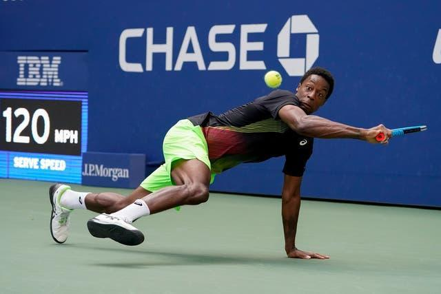 Gael Monfils, 34, showed all his flexibility during his second-round win over Steve Johnson
