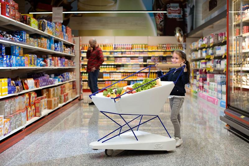 The trolley uses self-braking tech to prevent supermarket accidents (Ford)